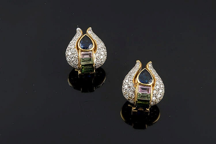 A PAIR OF GOLD, SAPPHIRE, TOURMALINE AND DIAMOND EARRINGS