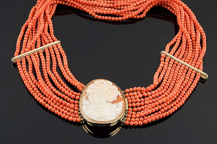 A CORAL AND GOLD CAMEO NECKLACE