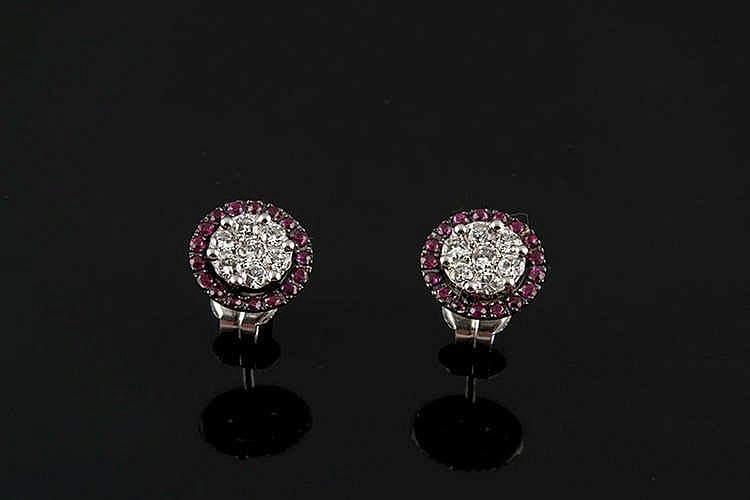 A PAIR OF GOLD, DIAMOND AND RUBY EARRINGS