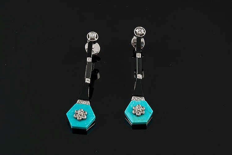 A PAIR OF GOLD, ONYX, TURQUOISE AND DIAMOND EARRINGS