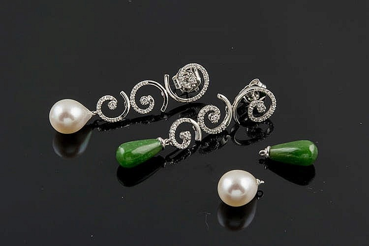 A PAIR OF GOLD, PEARL, GREEN GEMSTONE AND DIAMOND EARRINGS