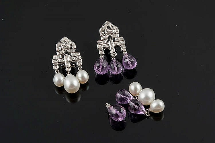 A PAIR OF GOLD, DIAMOND, AMETHYST AND PEARL EARRINGS