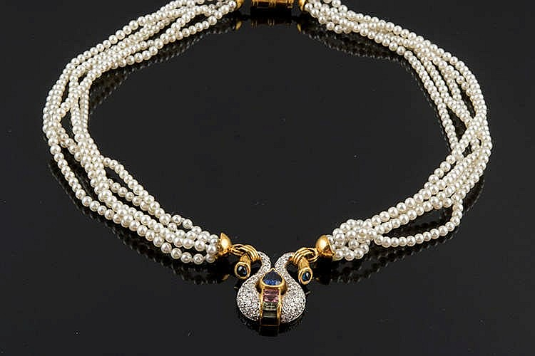A GOLD, SAPPHIRE, TOURMALINE, PEARL AND DIAMOND NECKLACE