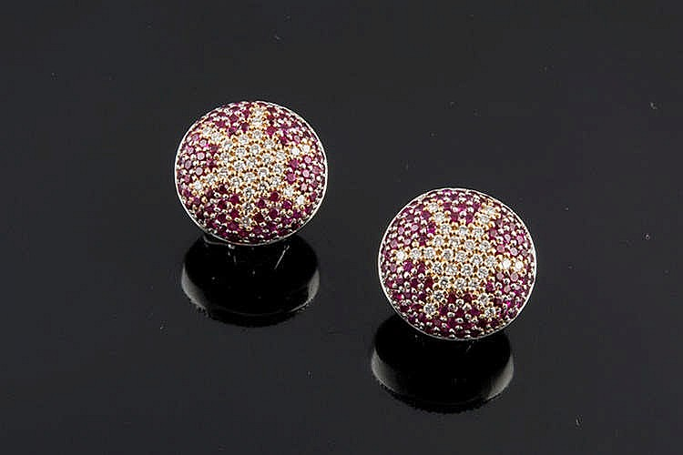 A PAIR OF GOLD, RUBY AND DIAMOND EARRINGS