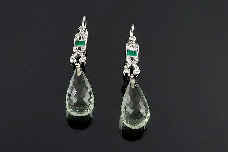 A PAIR OF GOLD, EMERALD, BERYL AND DIAMOND EARRINGS