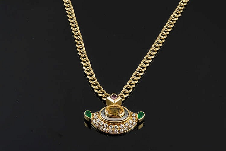 A GOLD, RUBY, SAPPHIRE, EMERALD AND DIAMOND NECKLACE