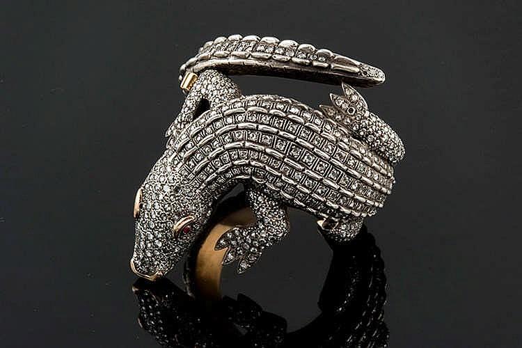 A SILVER AND DIAMOND BRACELET