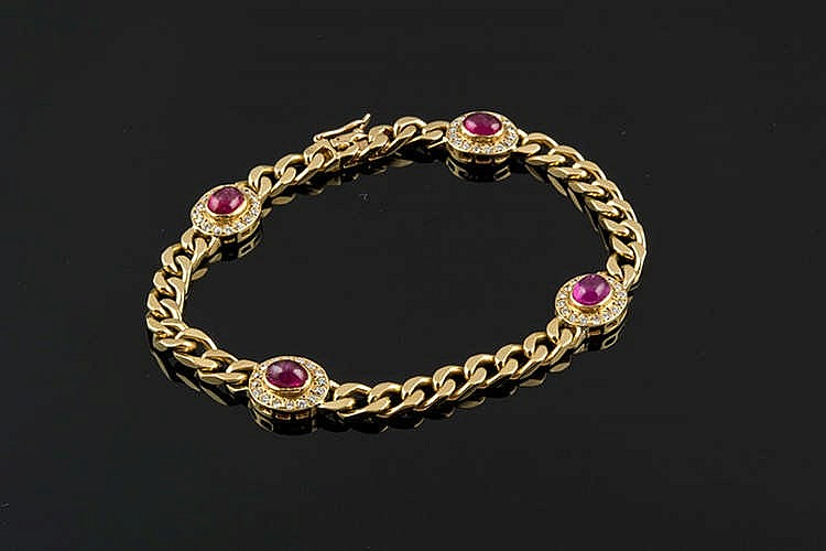A GOLD, RUBY AND DIAMOND BRACELET, BY GREGORY