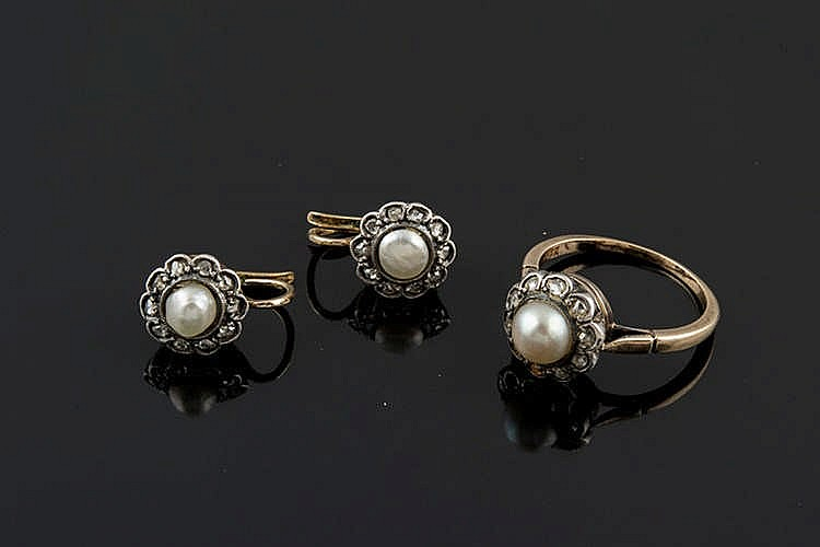 A GOLD, SILVER AND PEARL JEWELRY SET, EARLY 20TH CENTURY