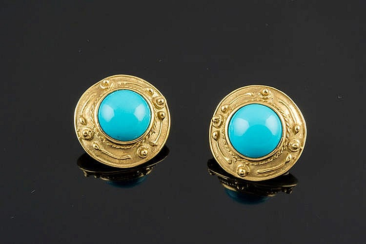 A PAIR OF GOLD AND SIMULATED TURQUOISE EARRINGS