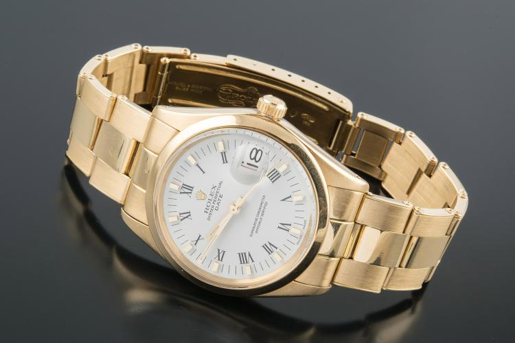 ROLEX OYSTER PERPETUAL DATE GOLD WATCH
