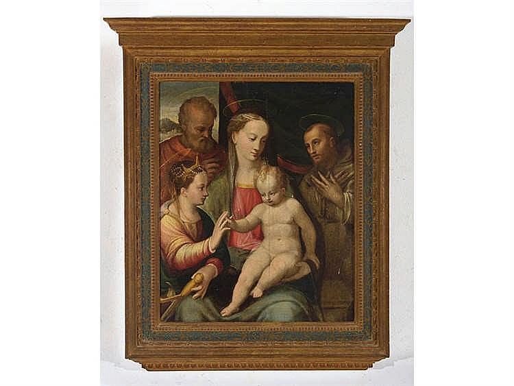 ROMAN SCHOOL, MID-16TH CENTURY Holy Family with St. Catherine and St. Bernard of Siena