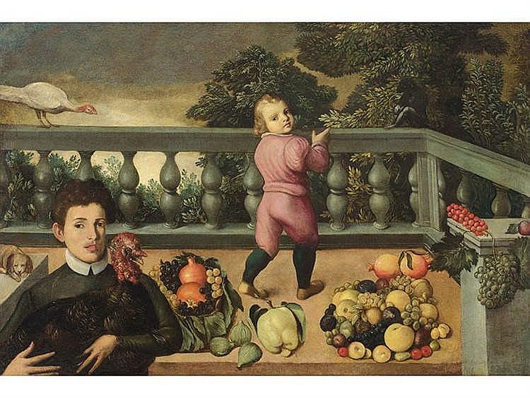 LUDOVICO POZZOSERRATO (Antwerp or Malinas, 1550-Treviso, 1604/5) Still life with Monkey, Turkeys and Fruits