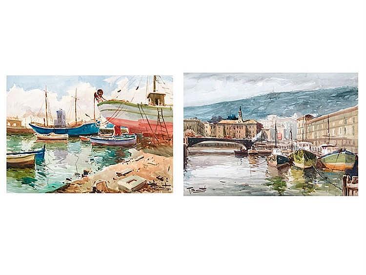RICARDO SACRISTÁN ARRIETA (Vitoria, 1921 - Madrid, 1981) Ría de Bilbao y barcos de pescadores