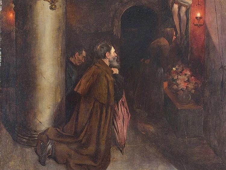 LUIS GRANER (Barcelona, 1863-1929) Monjes rezando