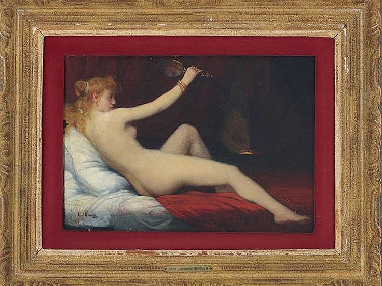 JEAN JACQUES HENNER (1829-1905) Ninfa recostada con espejo