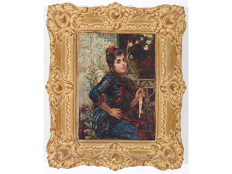 JOSÉ CAÑAVERAL (Seville, 1833-Madrid,1894) Muchacha con abanico