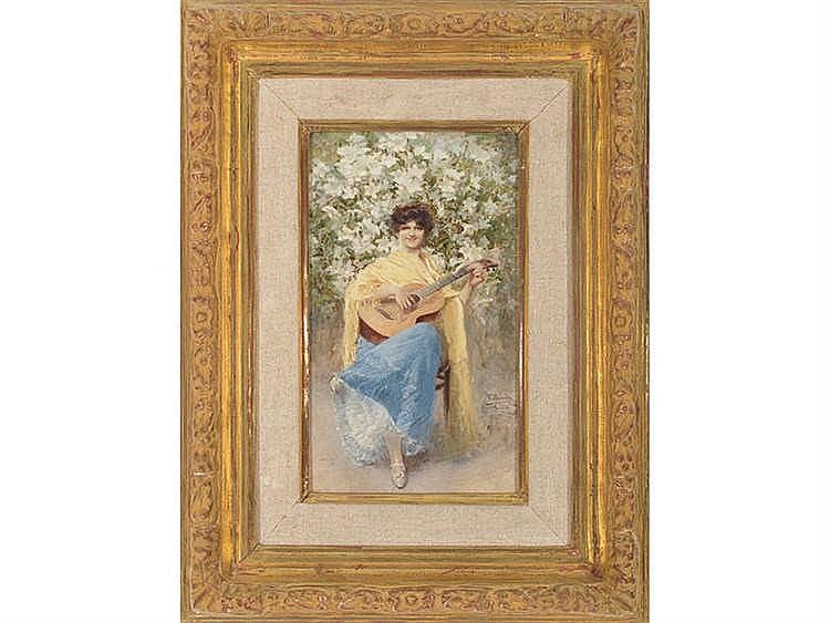 VICENTE POVEDA Y JUAN (Petrer, Alicante 1857-1935) Joven con mantón amarillo