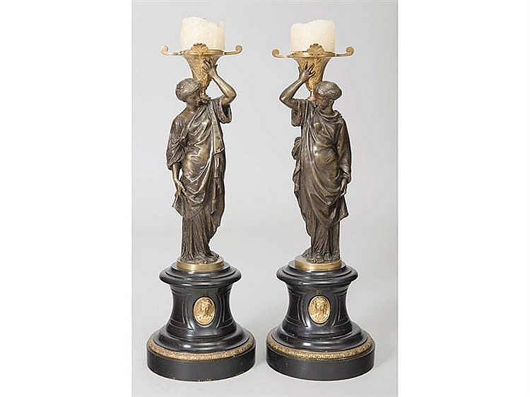 A PAIR OF FRENCH CANDLESTICKS, 19TH CENTURY