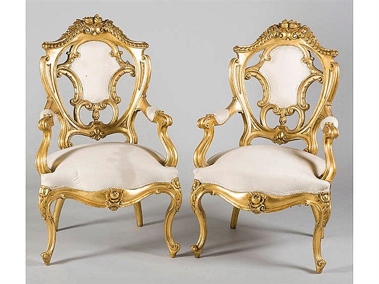 A PAIR OF ARMCHAIRS, 19TH CENTURY