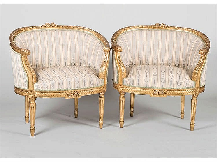 A PAIR OF LOUIS XVI STYLE ARMCHAIRS