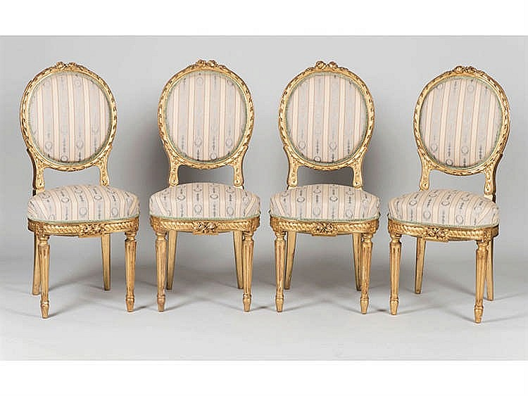 A SET OF LOUIS XVI STYLE CHAIRS