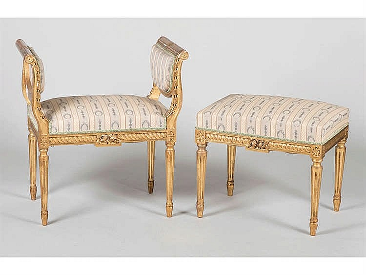 A PAIR OF LOUIS XVI STYLE STOOLS