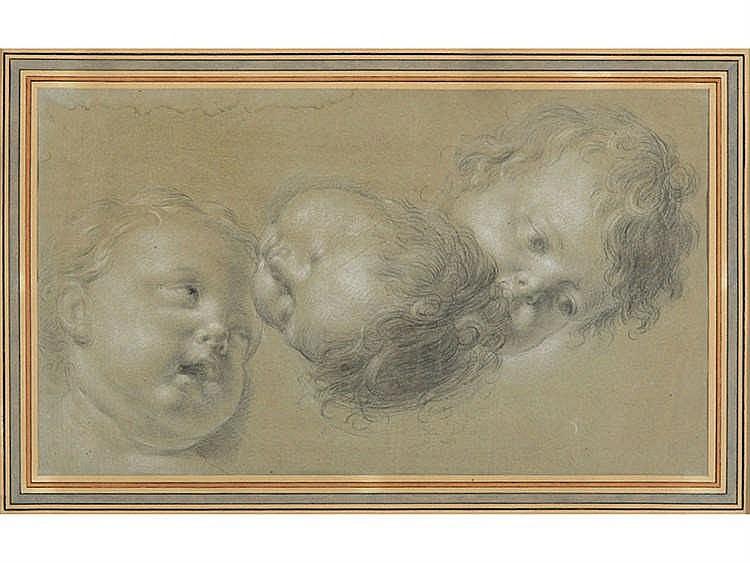 VICENTE LOPEZ (Valencia 1772-Madrid 1850) Tres cabezas de angeles