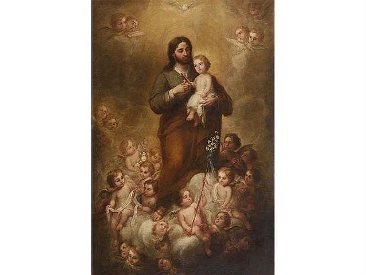 JOSE MARIA ROMERO (Seville, 1815-1880) San José con el Niño rodeado de ángeles