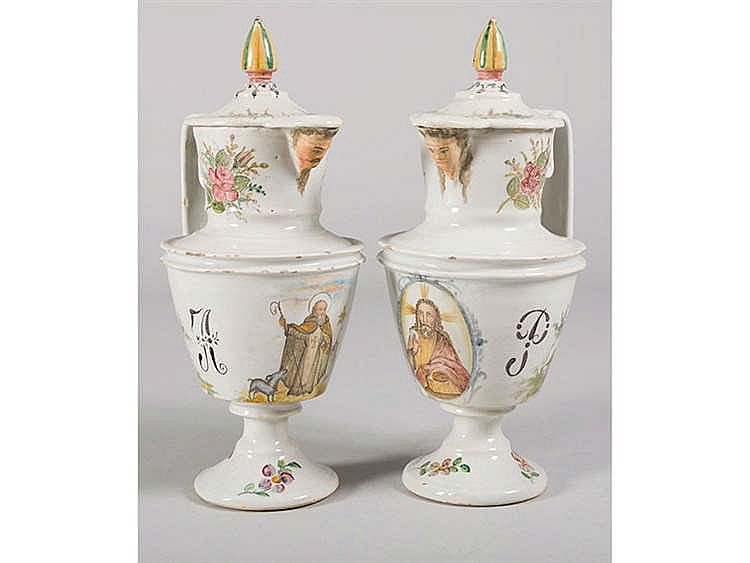 A PAIR OF MANISES CERAMIC JUGS, 19TH CENTURY
