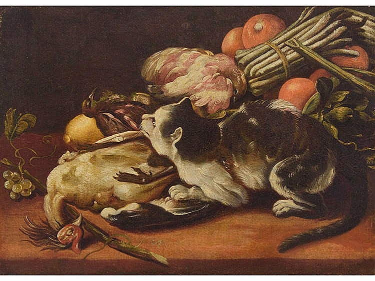 FLEMISH SCHOOL, 18TH CENTURY Still life with cat and birds