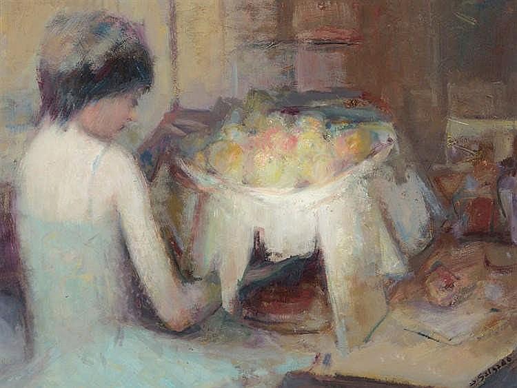 DEMETRIO SALGADO COSME (Salamanca, 1915-Madrid, 2000) Personaje en un interior con bodegón de manzanas.