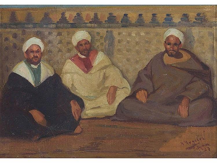 RAFAEL ARGELÉS (Algeciras, 1894 - Buenos Aires, Argentina, 1979) Escena orientalista. Zoco árabe con tres personajes.