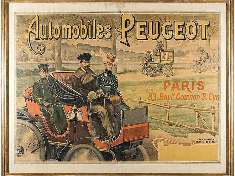 AUTOMOBILES PEUGOT ADVENTISTING POSTER