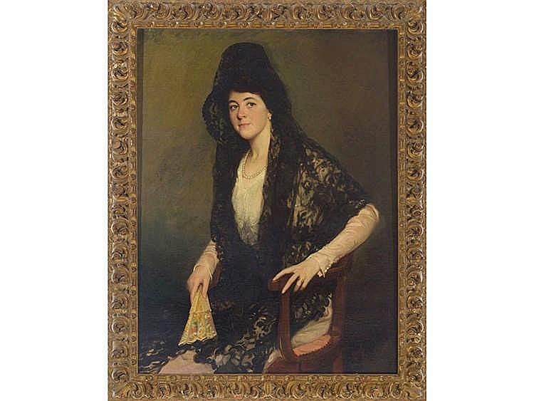 MANUEL BENEDITO (Valencia, 1875-Madrid, 1963) Mujer con mantilla