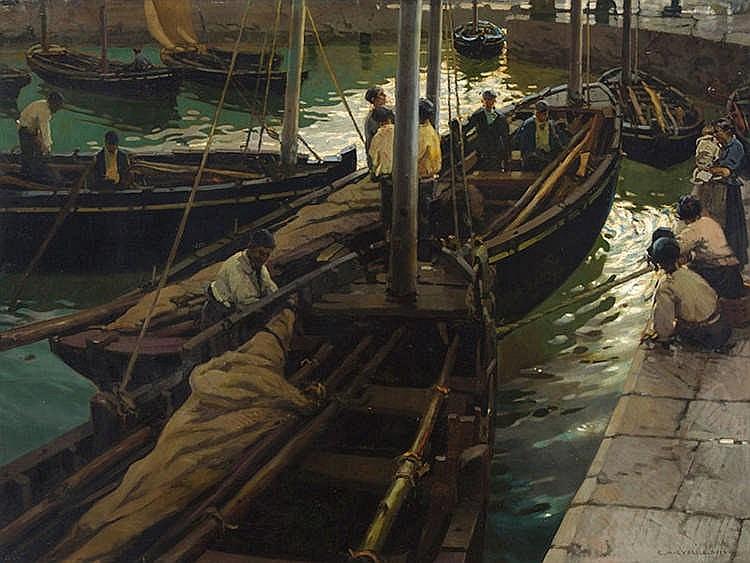 ENRIQUE MARTINEZ CUBELLS RUIZ (Madrid, 1874-Malaga, 1947) Puerto de Cudillero (Asturias)
