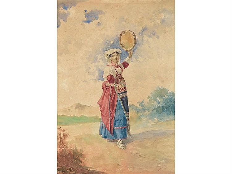 JOSE MARIA CHAVES ORTIZ (1839-1903) Joven napolitana con pandereta