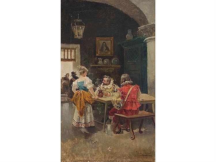 EUGENIO LUCAS VILLAAMIL (Madrid, 1858-1918) Escena de taberna