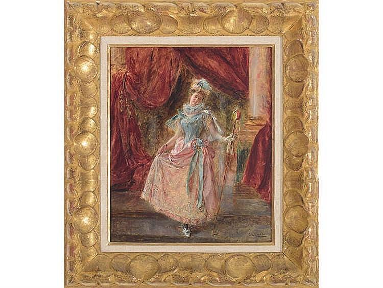 EDUARDO LEÓN GARRIDO (Madrid, 1856-Caen, France, 1949) Joven con vestido de baile