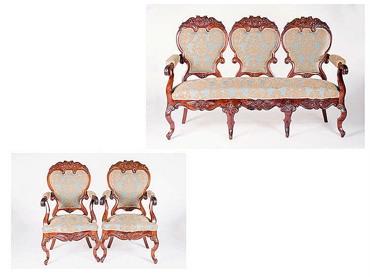 A SPANISH WALNUT FURNITURE SET