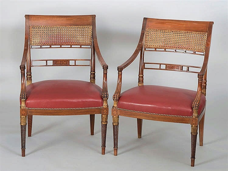 A PAIR OF ENGLISH STYLE ARMCHAIRS