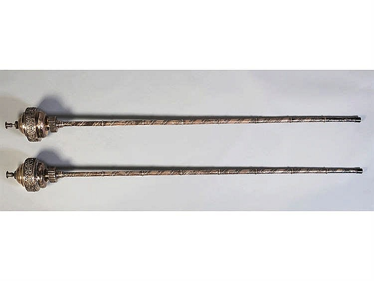 A PAIR OF SPANISH SILVER PROCESSIONAL CANDLESTICKS, LATE 18TH CENTURY