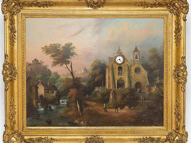 CENTRAL EUROPEAN SCHOOL, 19TH CENTURY Mountain Landscape with Clock