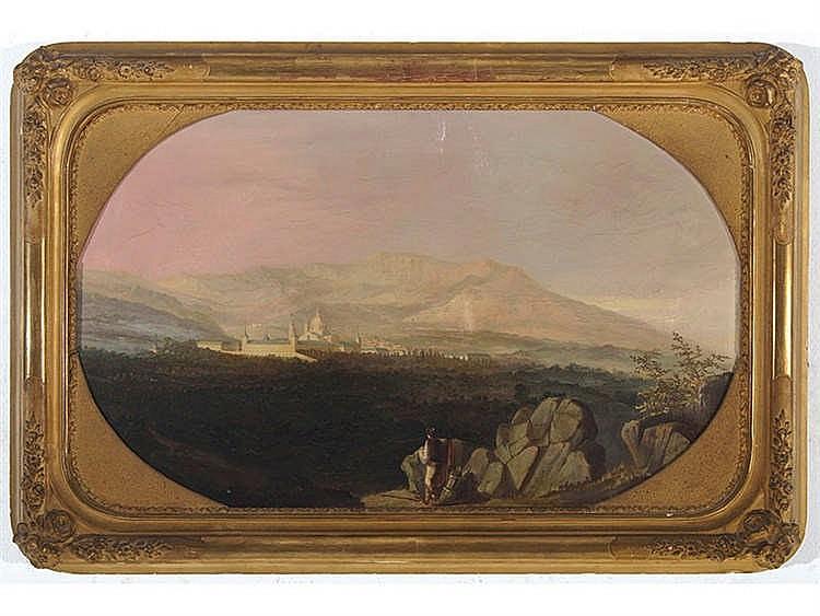 VICENTE POLERÓ Y TOLEDO (Cádiz, 1824-Madrid, 1911) Paisaje con San Lorenzo del Escorial al fondo