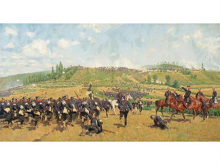 CARL ROCHLING (Saarbrücken, 1855 - Berlín, 1920) Batalla de infantería