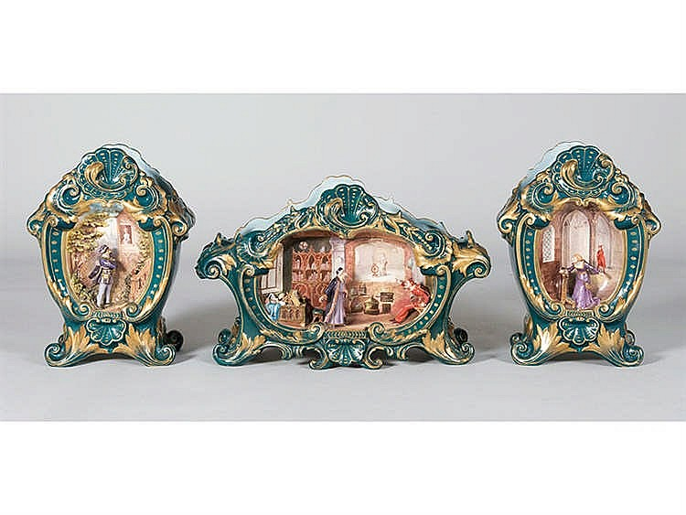 A MANTEL GARNITURE, 19TH CENTURY