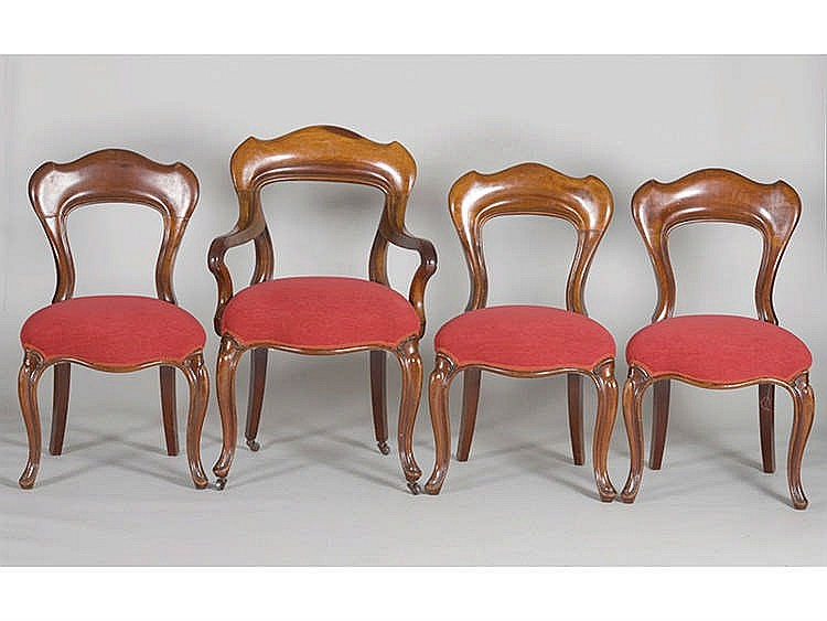 A SET OF VICTORIAN STYLE CHAIRS
