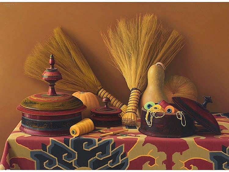 GERARDO PITA (Madrid, 1950) Still life with Indian Boxes