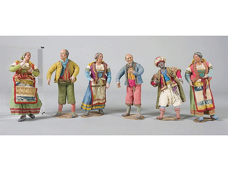 SIX NEAPOLITAN NATIVITY SCENE FIGURES, 18TH/19TH CENTURY