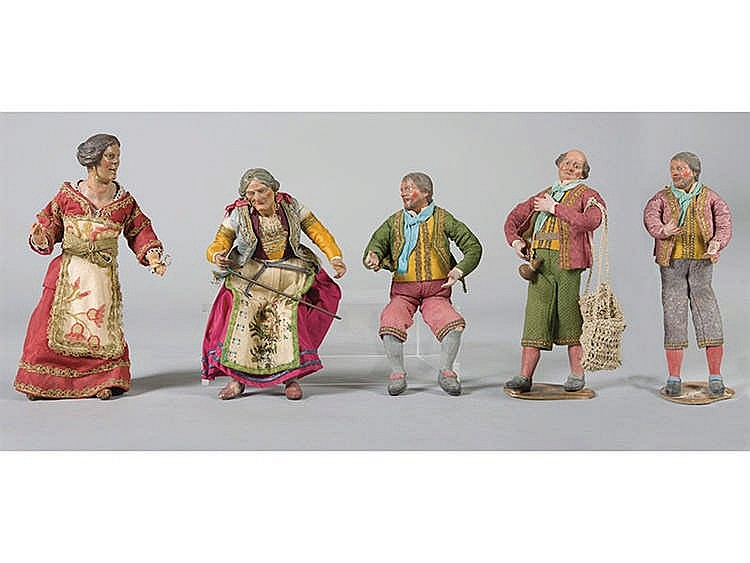 FIVE NEAPOLITAN NATIVITY SCENE FIGURES, 18TH/19TH CENTURY